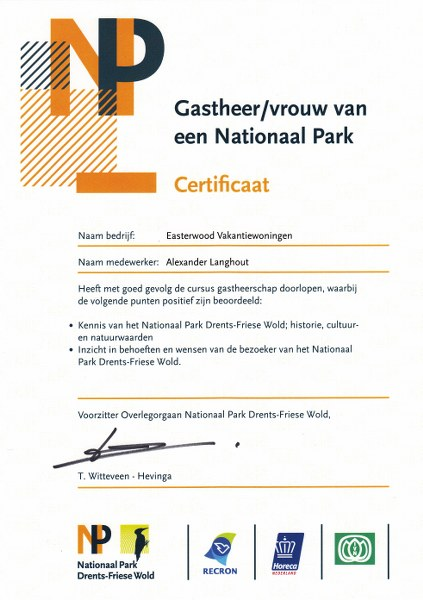 certificaat gastheerschap