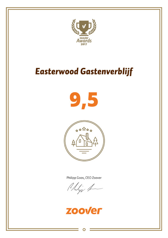 Easterwood is winnaar in de categorie Recommended by Zoover
